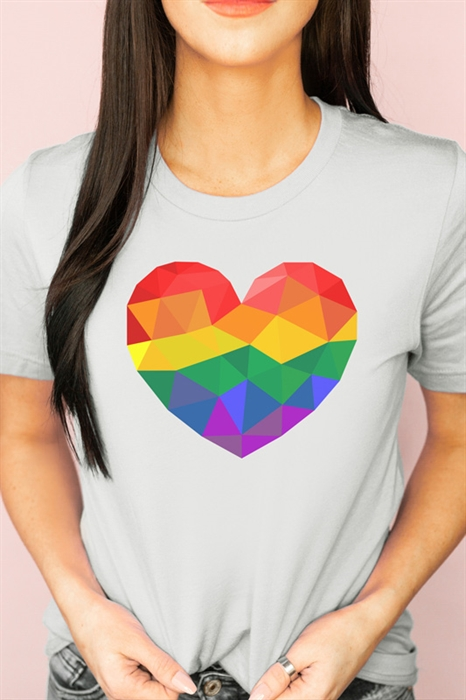 Picture of Faceted Rainbow Pride Heart Graphic Tee