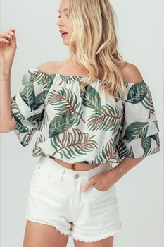 Picture of Tropical Palms Off The Shoulder Top