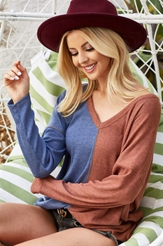Picture of Colorblock V- Neck Top